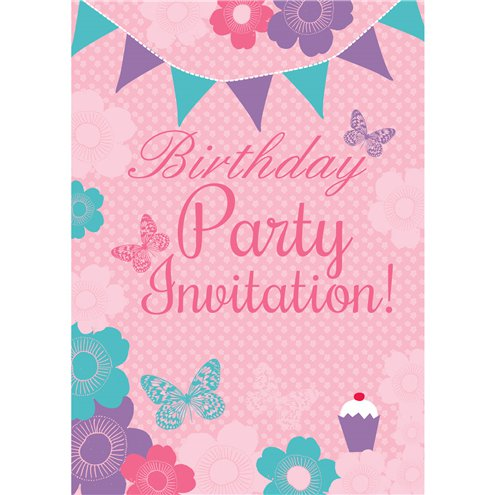 Summer Garden Birthday Invitation Cards Medium