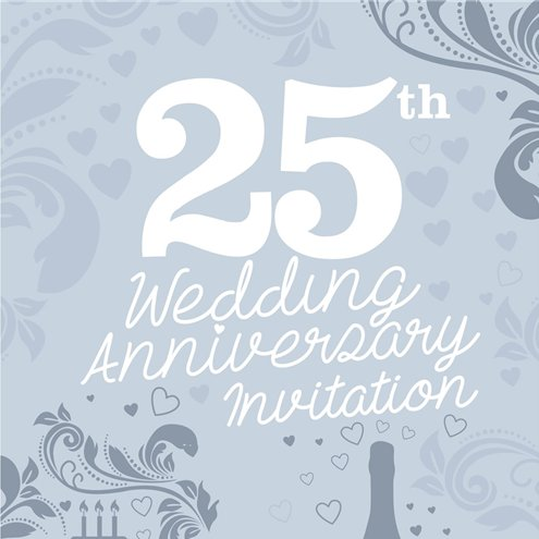 25th Wedding Anniversary Invitation Cards Medium