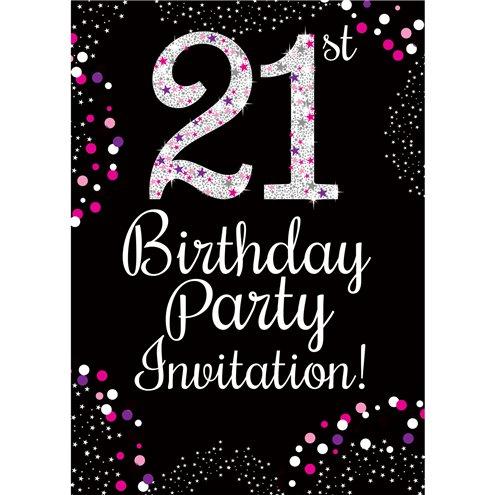 21st Birthday Pink Invitation Cards