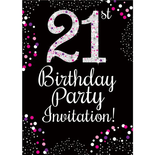 21st Birthday Pink Invitation Cards Small Party Delights