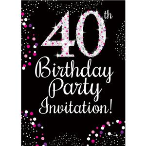 40th Birthday Pink Invitation Cards - Small