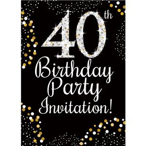 40th Birthday Gold Invitation Cards - Small