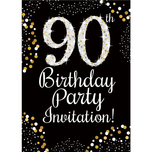 90th Birthday Gold Invitation Cards Medium Party Delights