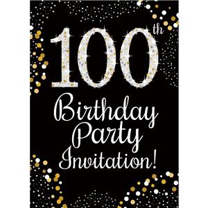 100th Birthday Gold Invitation Cards - Medium