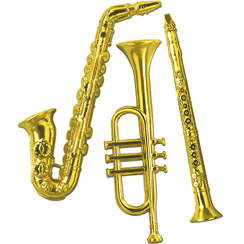 Gold Plastic Musical Instrument Decorations - 53cm