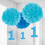 Boy's 1st Birthday Pom Pom Decorations - 40cm
