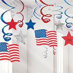 USA American Stars & Stripes Hanging Swirls 4th July Decoration
