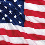 USA American Flag Paper Cocktail Napkins - 25cm