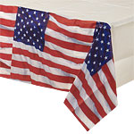 USA American Flag Plastic Tablecover - 1.4m x 2.6m