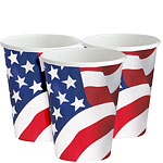 USA American Flag Paper Cups - 255ml Paper Party Cups