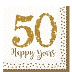 50th Gold Sparkling Wedding Anniversary Napkins - 33cm