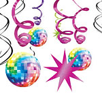 70s Disco Fever Hanging Swirls Decoration - 60cm