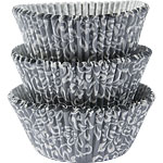 Silver & White Scroll Cupcake Cases - 5cm