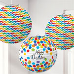 Birthday Bright Paper Lanterns - 24cm