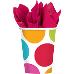 Cabana Dots Cups - 266ml Paper Party Cups
