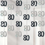 80th Birthday Black Hanging Decorations - 5ft Party Decorations