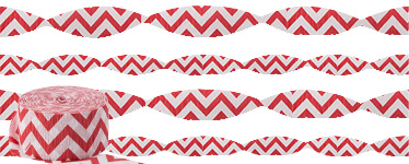 Apple Red Chevron Crepe Streamer - 24m