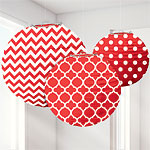 Apple Red Polka Dot & Chevron Paper Lantern Decorations