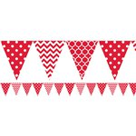 Apple Red Polka Dot & Chevron Plastic Bunting - 3.65m