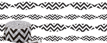 Black Chevron Crepe Streamer - 24m