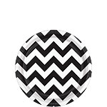 Black Chevron Dessert Plates - 18cm Paper Party Plates