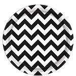 Black Chevron Plates - 23cm Paper Party Plates