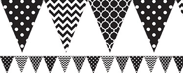 Black Polka Dot & Chevron Bunting - 4m