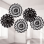Black Polka Dot & Chevron Paper Fan Decorations - 20cm