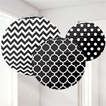 Black Polka Dot & Chevron Paper Lantern Decorations