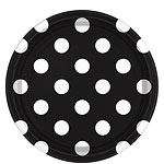 Black Polka Dot Plates - 23cm Paper Party Plates