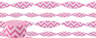 Hot Pink Chevron Crepe Streamer - 24m