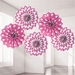 Hot Pink Polka Dot & Chevron Paper Fan Decorations - 20cm
