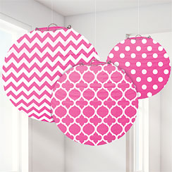 Hot Pink Polka Dot & Chevron Paper Lantern Decorations - 24cm