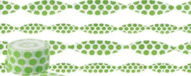Lime Green Polka Dot Crepe Streamer - 24m