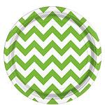 Lime Green Chevron Plates - 23cm Paper Party Plates