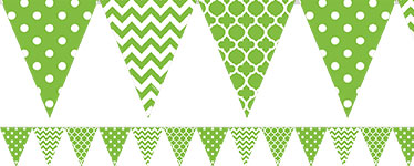 Lime Green Polka Dot & Chevron Bunting - 4m