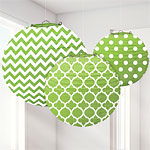 Lime Green Polka Dot & Chevron Paper Lantern Decorations