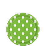 Lime Green Polka Dot Dessert Plates - 18cm Paper Party Plates