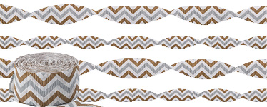 Metallic Chevron Crepe Streamer - 24m