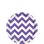 Purple Chevron Dessert Plates - 18cm Paper Party Plates