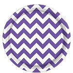 Purple Chevron Plates - 23cm Paper Party Plates