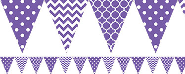 Purple Polka Dot & Chevron Bunting - 4m
