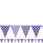 Purple Polka Dot & Chevron Plastic Bunting - 3.65m