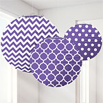 Purple Polka Dot & Chevron Paper Lantern Decorations