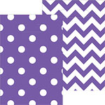 Purple Polka Dot & Chevron Party Bags - Plastic Loot Bags