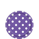 Purple Polka Dot Dessert Plates - 18cm Paper Party Plates