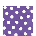 Purple Polka Dot Napkins - 33cm