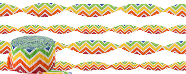 Rainbow Chevron Crepe Streamer - 24m