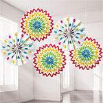 Rainbow Polka Dot & Chevron Paper Fan Decorations - 20cm