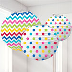Rainbow Polka Dot & Chevron Paper Lantern Decorations